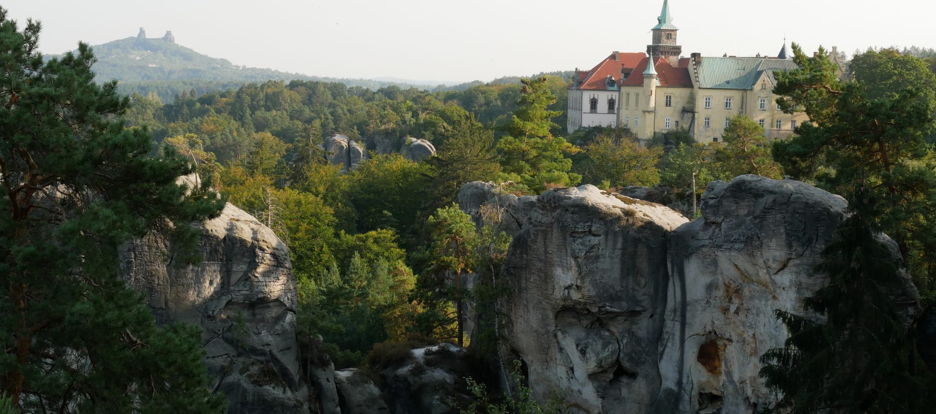 Walking through the Bohemian Paradise - ruin Trosky and castle Hruba Skala
